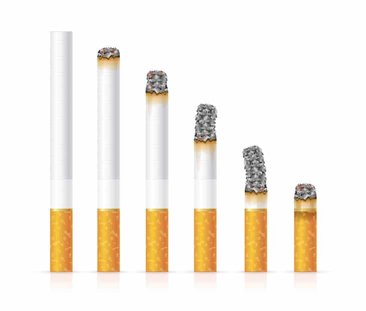 how much nicotine is in a cigarette mg
